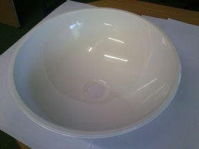 WHITE STAINLESS BOWL 390 DIA x 150D